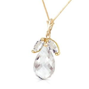 14K. SOLID GOLD NECKLACE WITH NATURAL WHITE TOPAZ